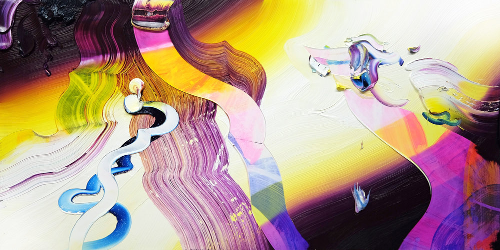 The Radiant Ones / oil and acrylic on panel / 36 inches x 72 inches