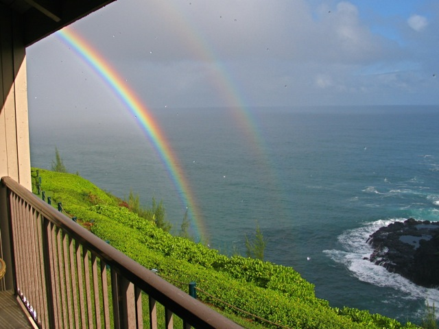 Rainbow in the cove below