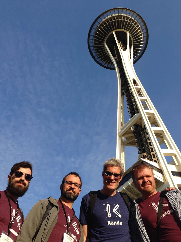 John M., Chris, David, and Roman at the Unity 2014 conference in Seattle.