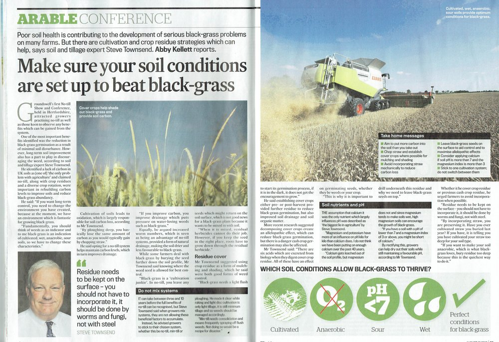 Farmers Guardian - Make sure your soil conditions are set up to beat black-grass - 19th August 2016