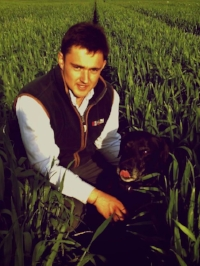 Simon Weaving and his dog inspect crops drilled with a GD