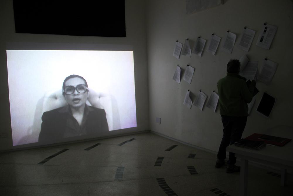 Exhibition view of Saira Sheikh and Neha Mirza's event  Deinstall  (2013). Photograph by Sadia Shirazi.