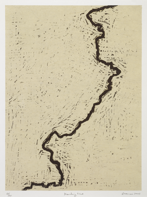 Zarina,  Dividing Line ,  woodcut printed in black on Indian handmade paper mounted on Arches Cover white paper, 2001.