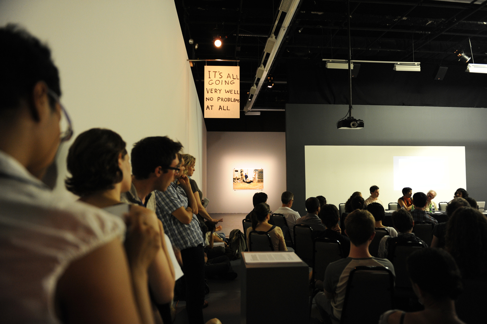 """""""City As Stage,"""" Public Platform of the exhibition  Foreclosed. Bewteen Crisis and Possibility  (2011)at The Kitchen, New York City.Photograph by  Maria Domenica Rapicavoli."""