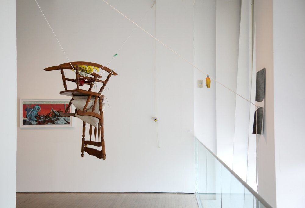 Ayesha Kamal Khan,  This May Fall (chairlift)  (2015) and Chitra Ganesh,  Her Nuclear Waters  (2013), exhibition view, photograph by Sadia Shirazi.