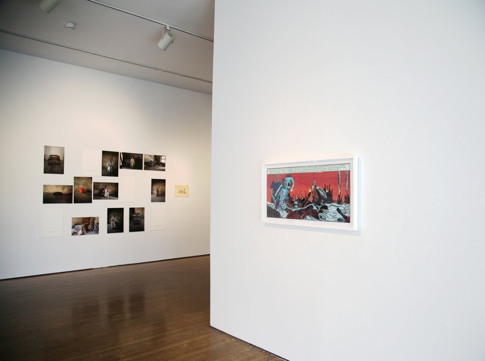 Chitra Ganesh,  Her Nuclear Waters  (2013) and Huma Mulji,  Conversations with Karamatullah (2016),  exhibition view, photograph by Sadia Shirazi.