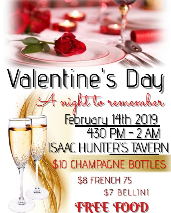 Will you be my Valentine? Come join us for FREE food, $10 Champagne Bottles, and more great specials!