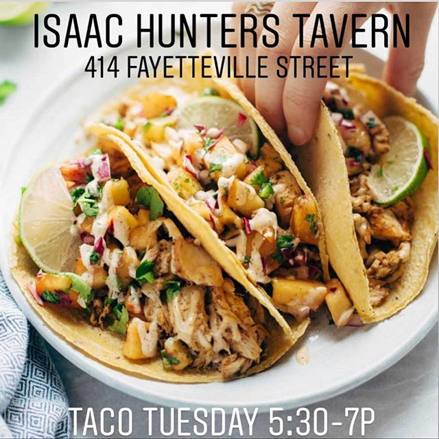 It's Taco Tuesday!! Come hang out with us. We have Coronas and tequila on special and we're serving free tacos thanks to Anthony Parham! Games, tacos, and tequila! #tuesdayspecials #tacotuesday #isaachunterstavern #tequila #corona #downtownraleigh