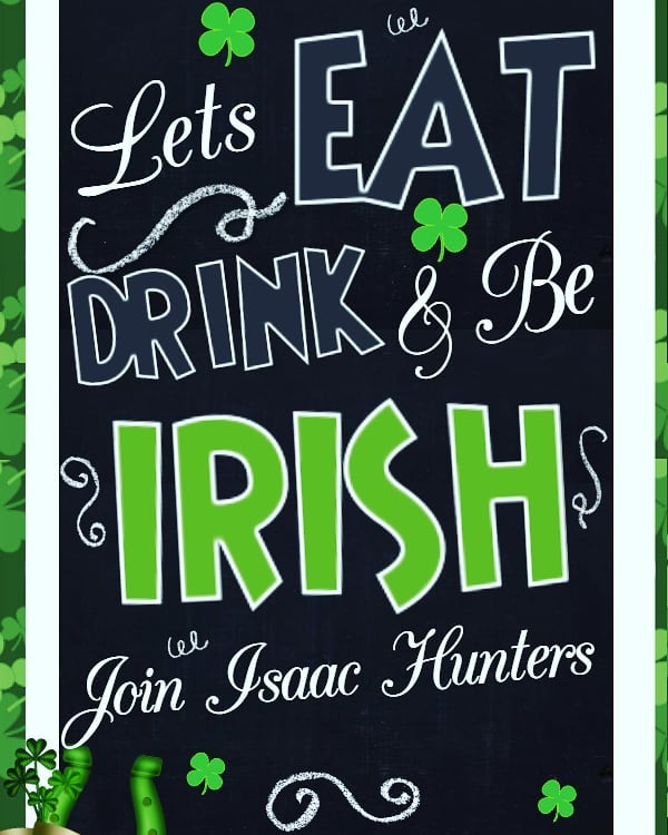 Come start St Patty's Day early with free food and $7 Slane Irish Whiskey