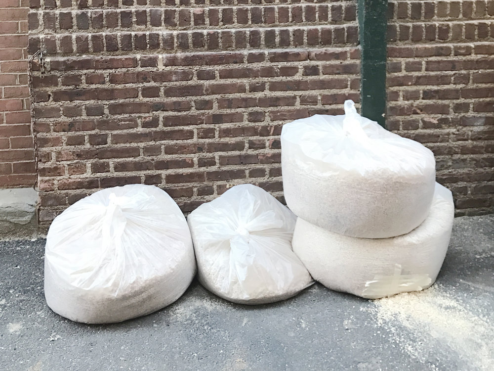 Bags of saw dusts collected from RISD woodshop (above)