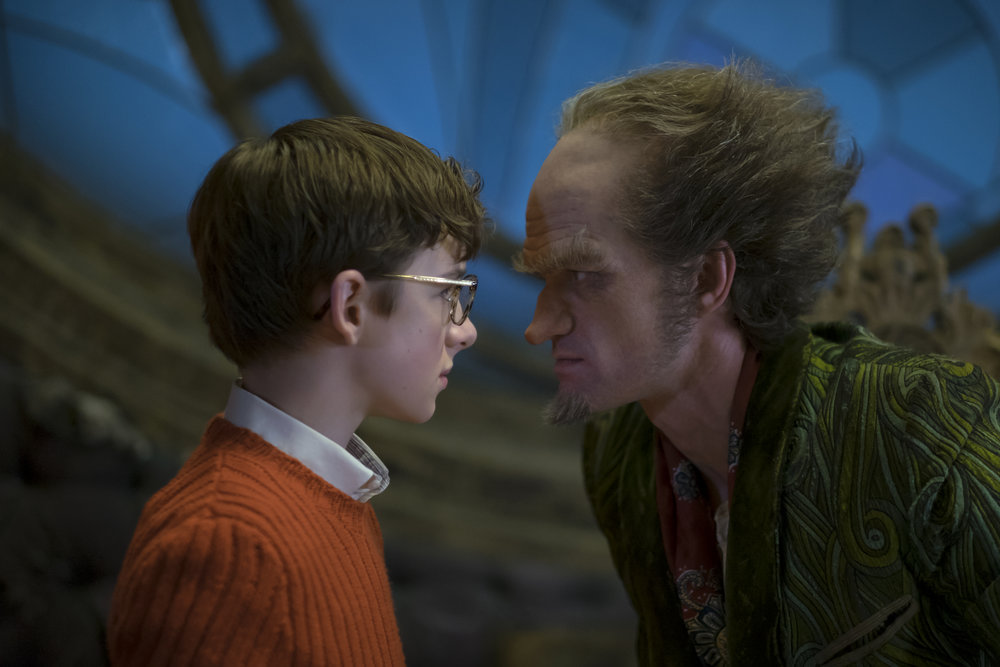 Joe Lederer/Netflix  -  Louis Hynes  as Klaus Baudelaire and  Neil Patrick Harris  as Count Olaf