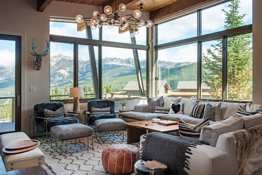 You cannot beat the amazing views from this  Reid Smith Architects  Designed home in Moonlight Basin.  I also love the furnishings by  Carole Sisson Design .