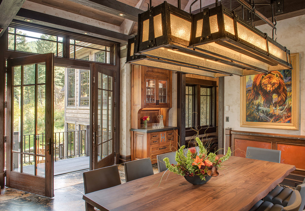 I love the french doors that open up the dining room to the deck outside.