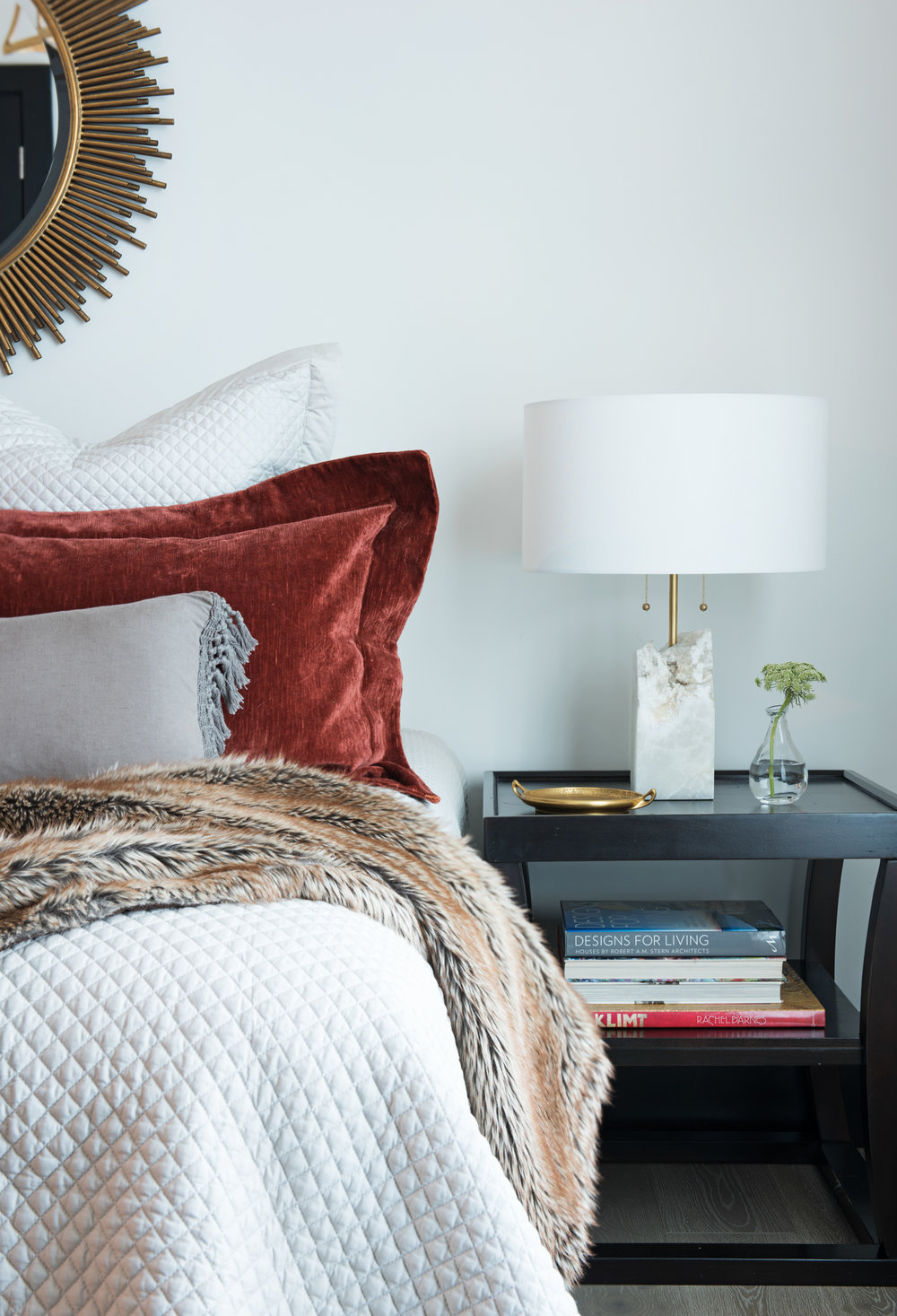 This gorgeous guest bedroom is just off the main living area. So lovely - the fur blanket is a really nice touch!
