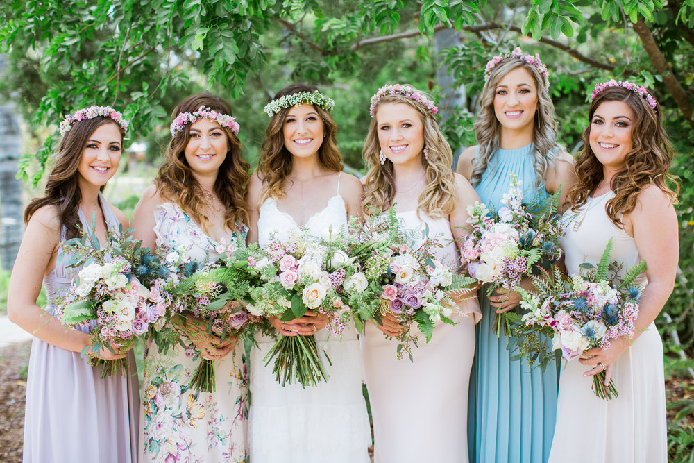 Lavender and peach bouquets by San Diego floral designer Botanicamuse