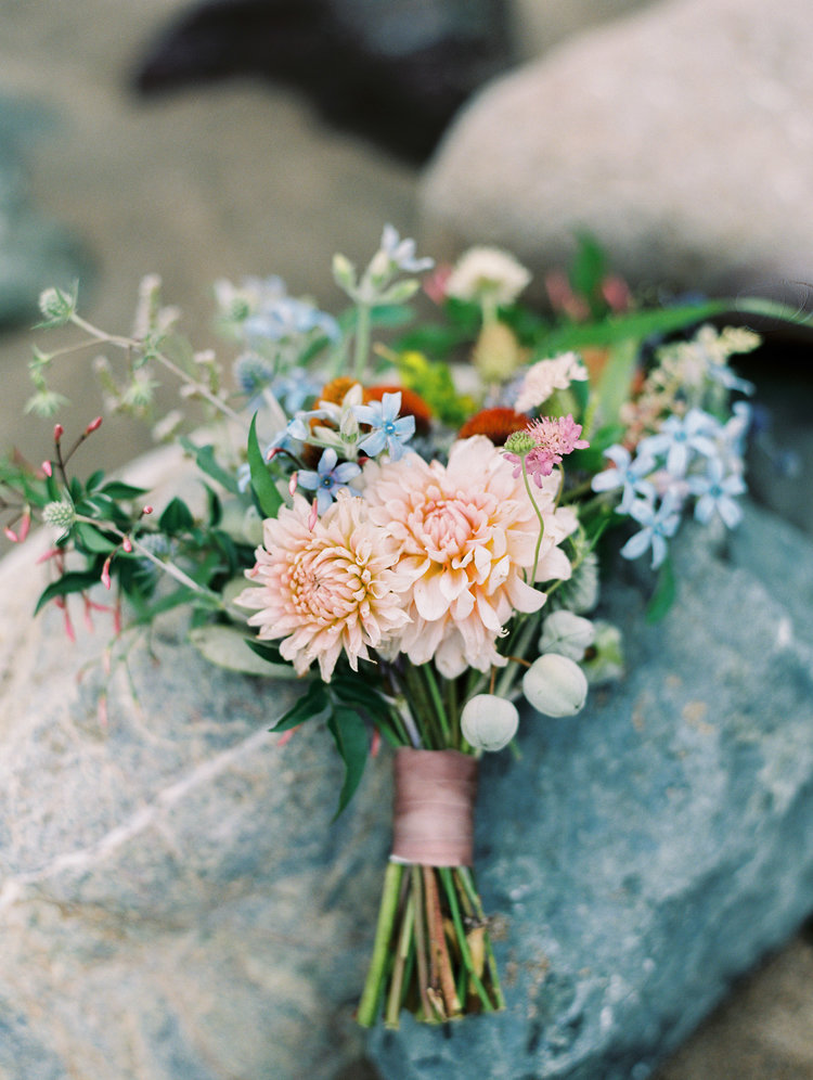 Lavender and peach bridal bouquet by San Diego floral designer Botanicamuse