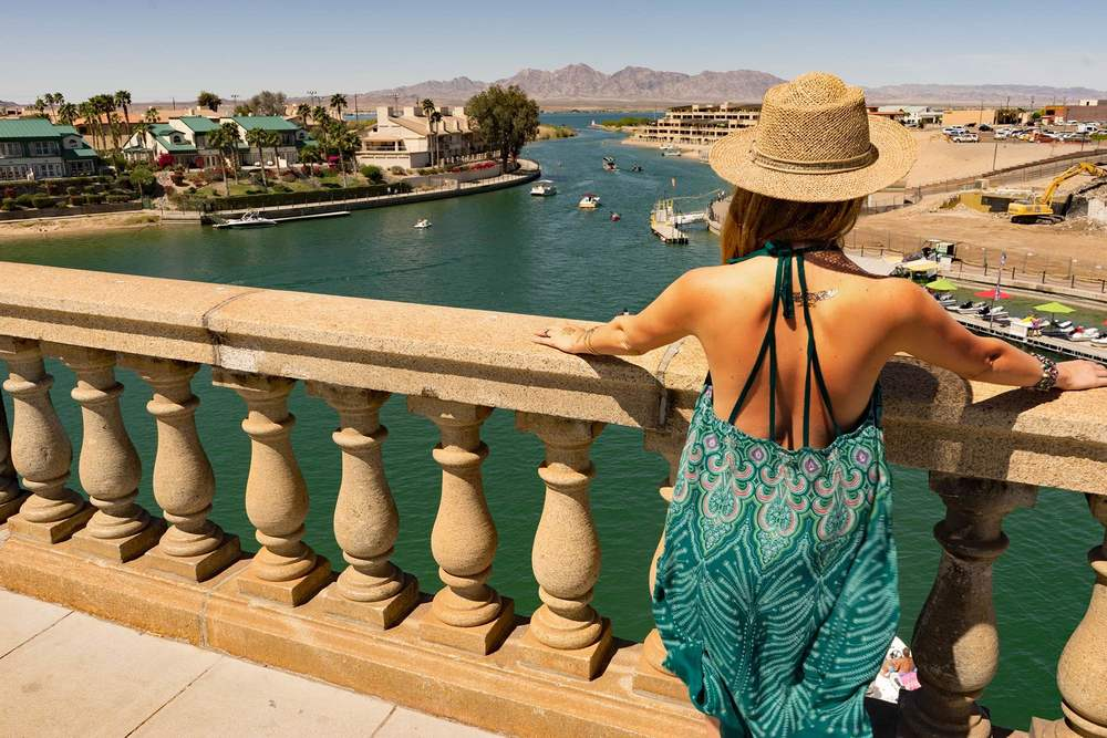 Standing on the London Bridge in Lake Havasu, Arizona, wearing O'Neill summer dress.
