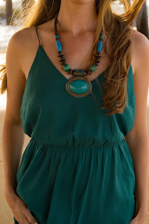 Statement Bohemian Boho necklace Ann Taylor Dress