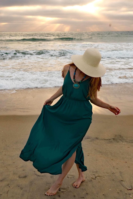 Bohemian style straw sun hat beach