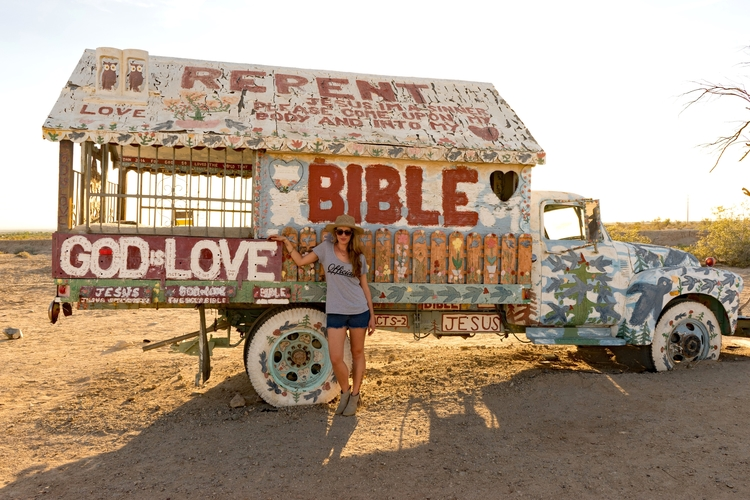 Salvation Mountain Desert Folk Art Sculpture Truck