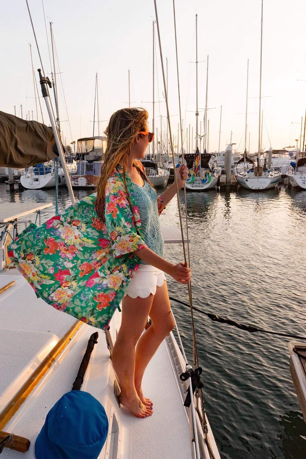 sailing outfit, sunset, sailboat, marina, san diego