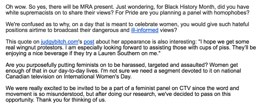 Our response to Your Morning when they requested we be on a panel with MRAs.