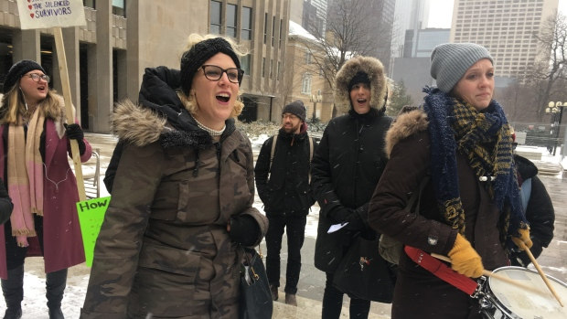 Mandi Gray-led protest in Toronto on March 14. Photo by Marie Helene Ratel/CBC.
