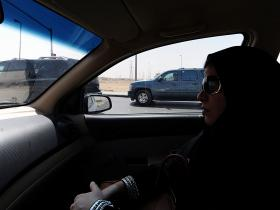 Saudi woman driving in protest.