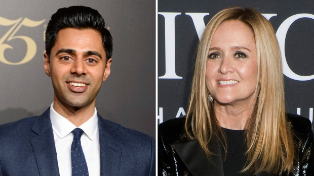 Daily Show comic Hasan Minhaj, left, was the headline comedian at the White House Correspondents' Dinner Saturday, while late night television show host Samantha Bee hosted a competing event. (Evan Agostini, Charles Sykes/Invision/AP)