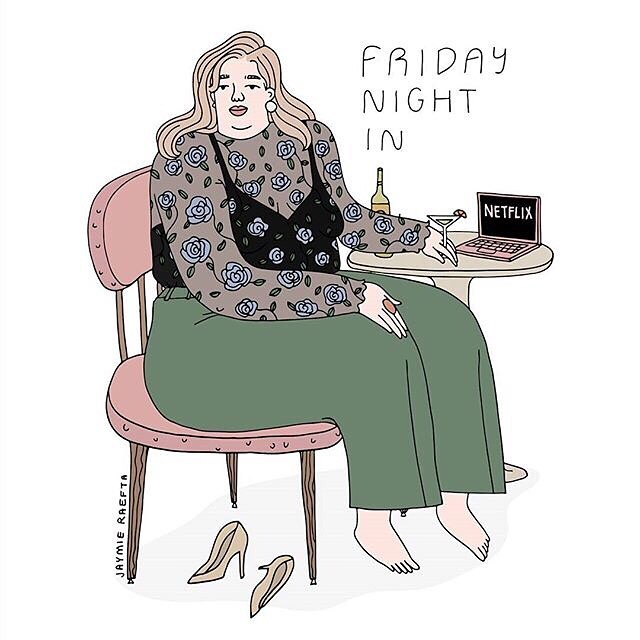 it's been a long-ass week. do you bitches! xoxo art by @jaymieraefta . . . . . #illustration #illustratorsoninstagram #friday #netflix #selfcare #treatyourself #selfcareissexy #dateyourself #fridaynight #fridaynightin #feminism #feminist #putyourselffirst #intersectionalfeminism #feministart