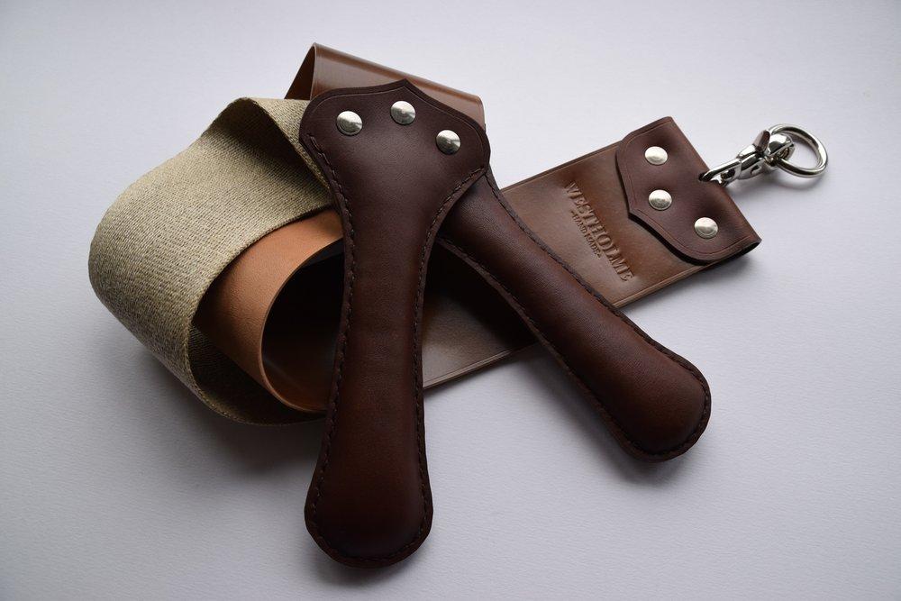 """3"""" Shell Cordovan & Natural Linen  (Bourbon with brown Latigo handles)"""
