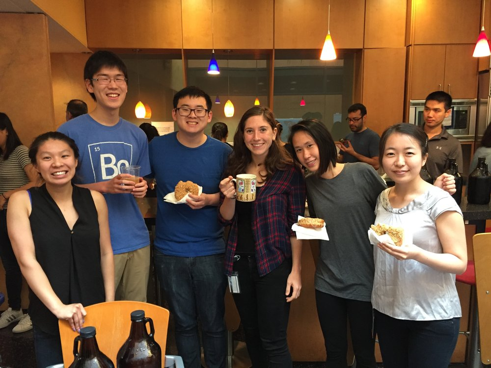 Enjoying donuts and cold brew coffee courtesy of the GPC of the Chemistry and Chemical Biology department!