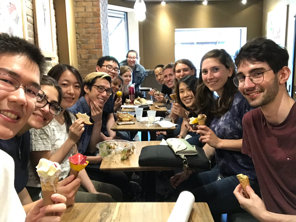 The group enjoys some refreshing gelato to cool off from the hot day.