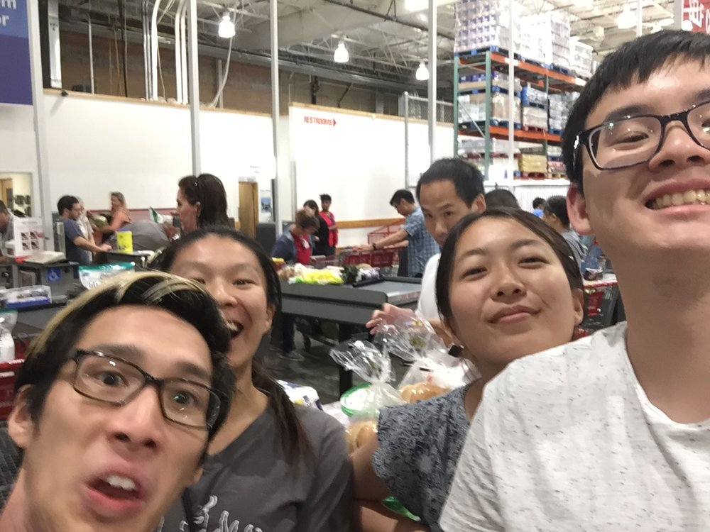 Shopping at Costco.