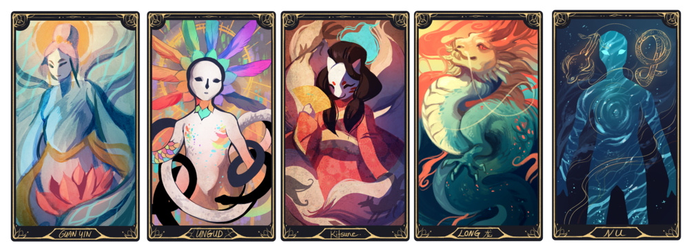 card designs for a deck centered around multicultural LGBTQ deities.