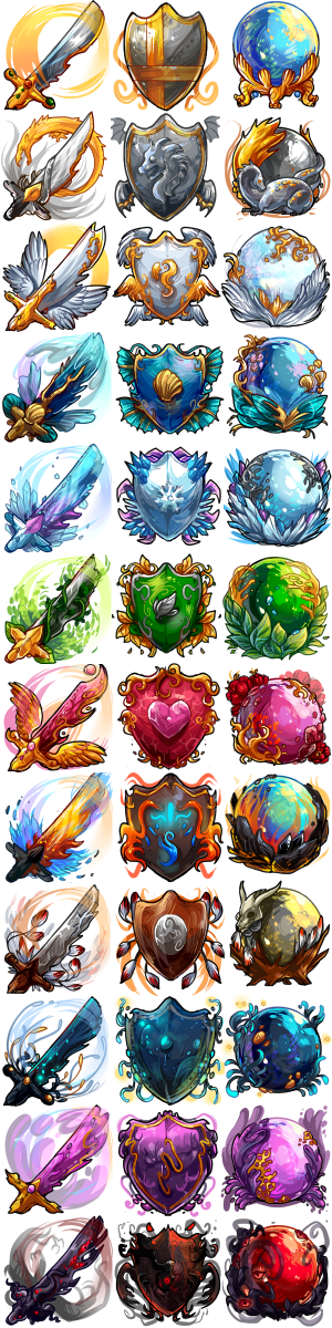freelance work - elemental item sets of shields, swords, and orbs.