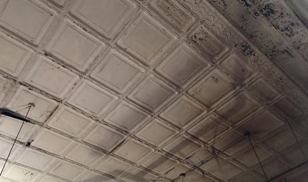 Historic tin ceiling they will try to salvage