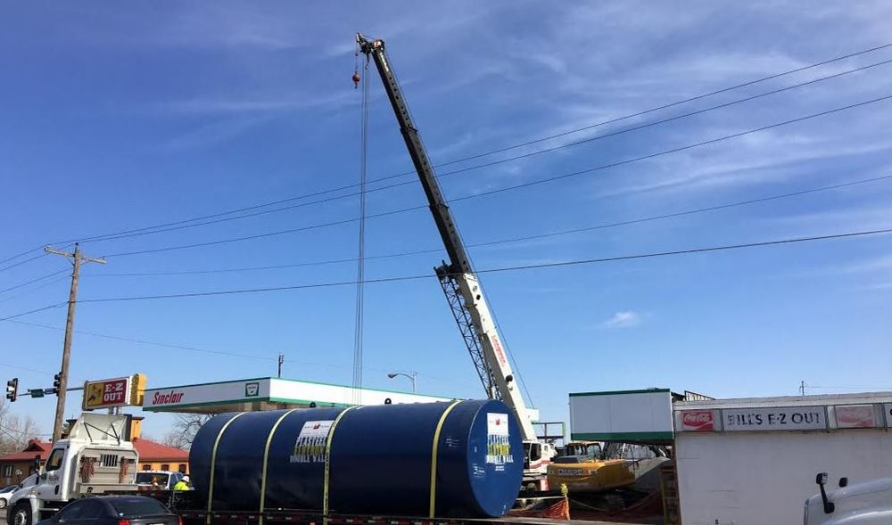 3 tanks were hauled in to put in place - Unleaded/Premium & Diesel Photo by RDMGtv