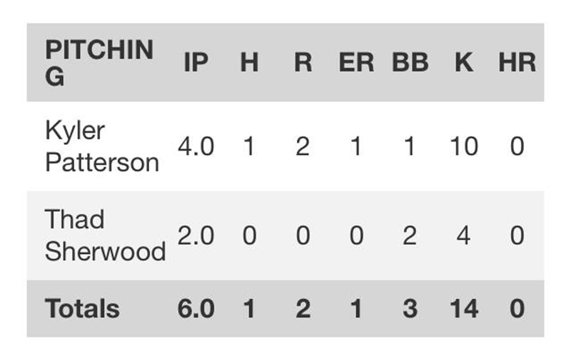 Pitching Stats for Patterson & Sherwood - CHS Official Game stats