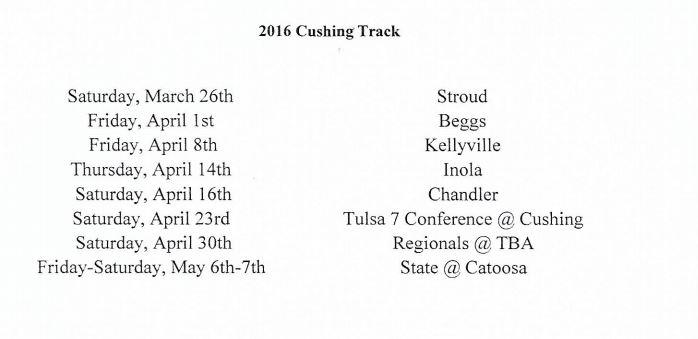 CHS Track & Field Schedule