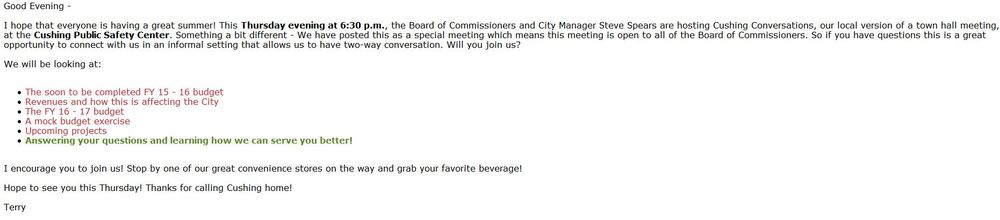 Email from Commissioner Brannon - Click to enlarge