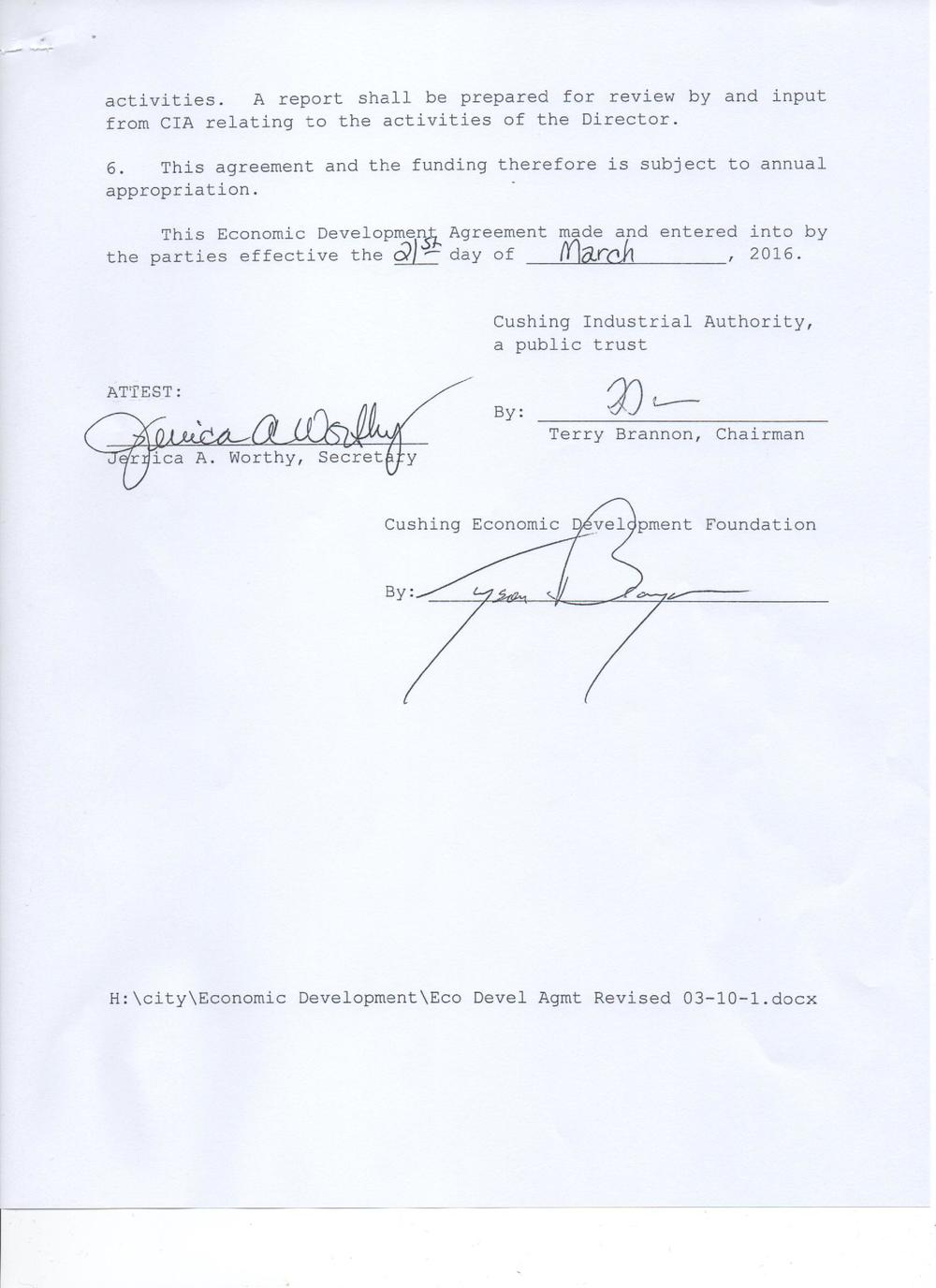 Page 3 of the City's Agreement with the Economic Devel  opment Foundation