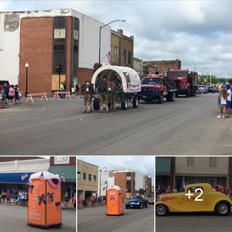 World's fastest outhouse to classic cars lined the parade route.
