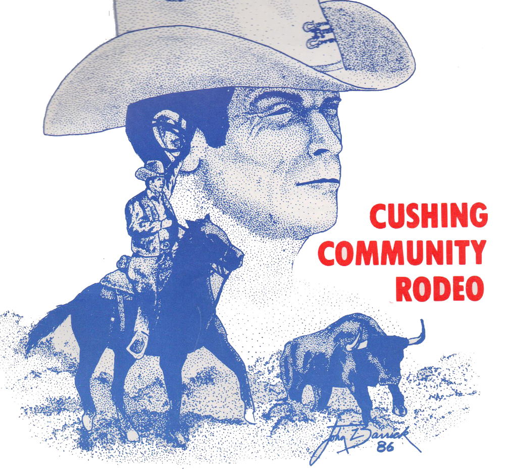 Artwork from an original program of the 2nd annual Cushing Community Rodeo.