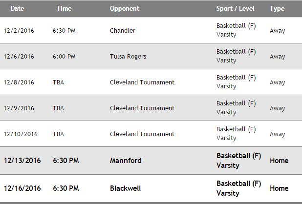 2016/2017 Boys Basketnball      Schedule for December