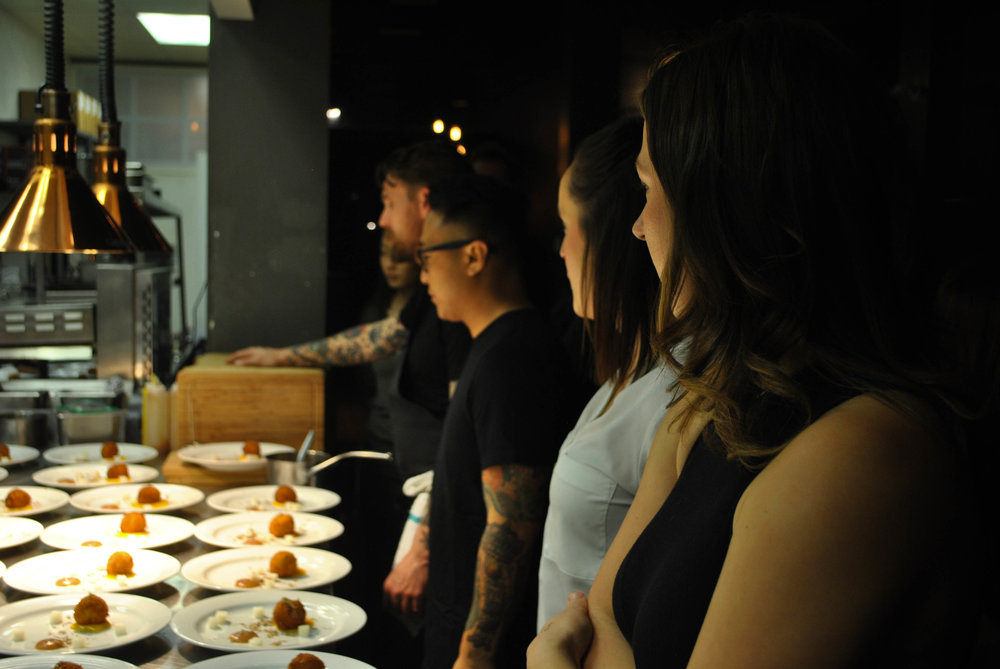 The amazing front of house staff of Ayden headed by Chris Cho waiting to run the third course.