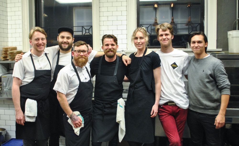 The Ayden and The Hollows kitchen staff.   Jesse Zuber, Benet Hunt, Nathan Guggenheimer, Dale McKay, Christie Peters, Brian Gibbons, and Sebastian Belanger