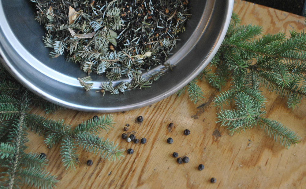 Woodsy Tea:  Deep flavoured, Thoughtful, Forest. Juniper, Fir Tip, Stinging Nettle, and Spiced Jasmine