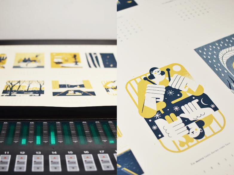 Do processo de acerto de cor, na impressão offset a duas cores. /  From the colour matching process, during the two colour offset printing.
