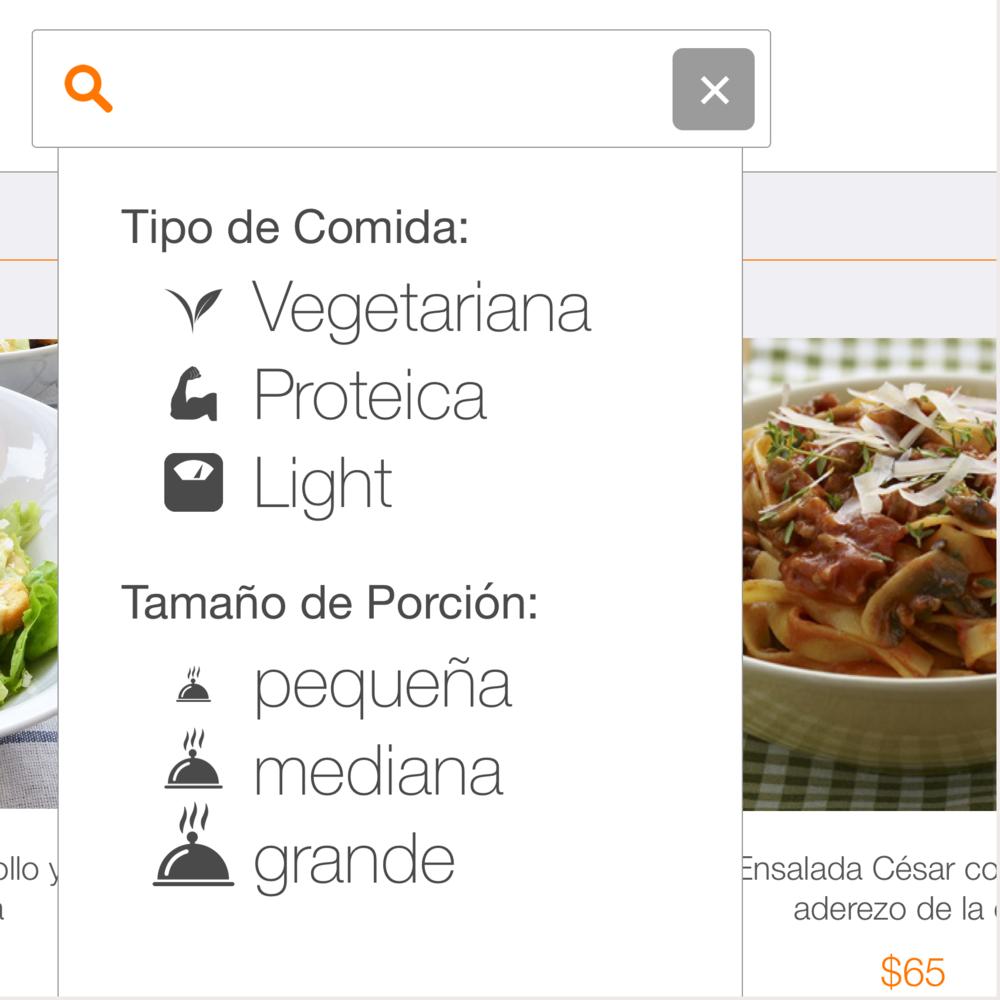 Posibilidad de filtrar opciones por categoría de cocina, tipo de dieta, tamaño de porción óingrediente.